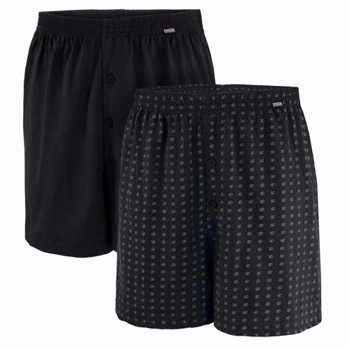 """2 Boxershort met knoopjes  """" Adamo """"   1 x Zwart, 1 figuur"""