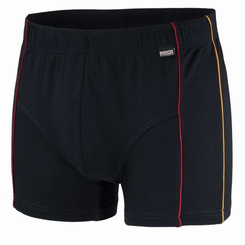 """Boxershort  """" Adamo """"   Zwart met oranje en  rood biesje"""