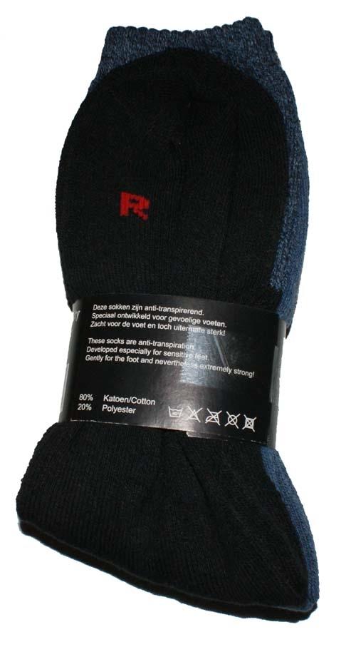 """Tracking sokken """"  Zwart / blauw  """"  3 paar"""